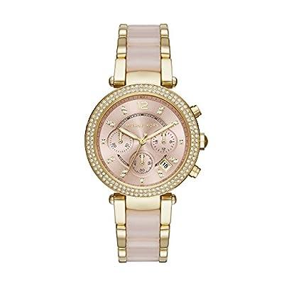 Michael Kors Parker - Reloj análogico de cuarzo con correa de acero inoxidable para mujer, color rosa/multicolor