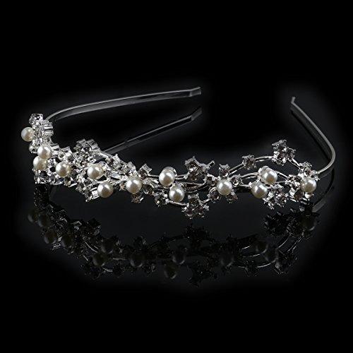 LEORX Boda nupcial Tiara mujeres pelo broches lazo del pelo - estilo de flor adornado de perlas y diamantes de imitación diadema (plata)