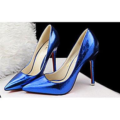 Moda Donna Sandali Sexy donna tacchi tacchi estate pu Casual Stiletto Heel altri nero / blu / viola / rosso / Argento / Mandorla Altri Blue