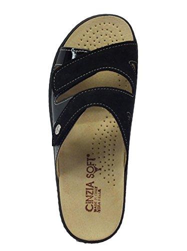Pantoufles En Daim Soft Cinzia Et Semelle Intérieure Amovible Black Paint Black