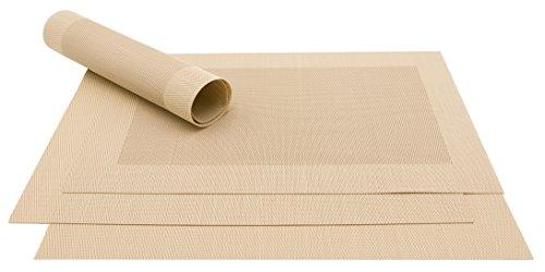 ZOLLNER 4er Set Tischset, 32x47 cm, Sand (mehrere Farben), hitzebeständig, PVC