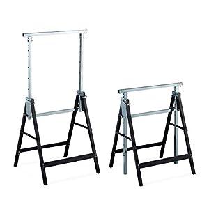 Relaxdays 10026076 2 Caballetes para Mesa y Trabajos de Bricolaje, Acero, Negro-Plateado, Altura Regulable 80-130 cm
