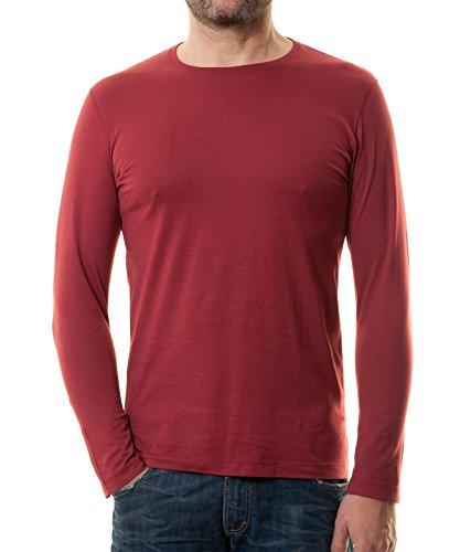 Ragman Herren Langarm Shirt mit Rundhals Bodyfit Weinrot