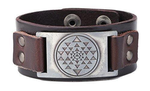 Viking Vintage India Sri Yantra Meditación charms Cuff pulsera de cuero amuleto Tailsman joyas