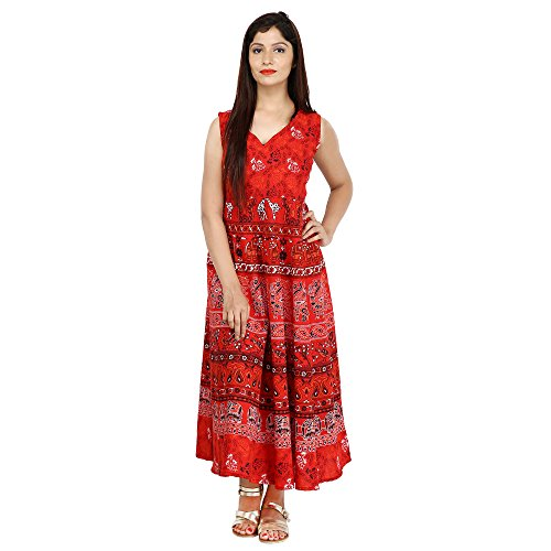 JR Print Women's Long Dress Jaipuri Animal Print Cotton  available at amazon for Rs.409
