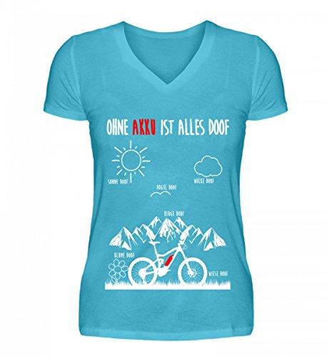 Hochwertiges V-Neck Damenshirt - OHNE AKKU IST ALLES DOOF - Ebike und EMTB Shirt