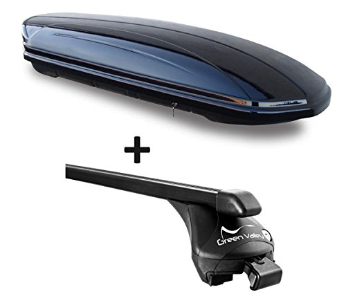 VDP Dachbox schwarz glänzend MAA 580 Auto Dachkoffer 580 Liter abschließbar + Relingträger Dachgepäckträger Quick aufliegende Reling im Set kompatibel mit BMW X5(F15) ab 2014 bis