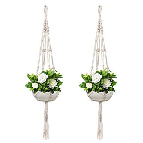 Koitoy Makramee Blumenampel Hängeampel für Innen Außen hängende Pflanzgefäße Pflanzenhänger Blumentopf Pflanzenhalter,2 Stück, für Balkon Decke (2)