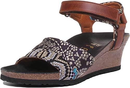 Papillio Eve Texture Damen Sandale aus Leder, matt, Cognac, Grün - Cognac - Größe: 37 EU - Lola Ankle Strap Sandalen