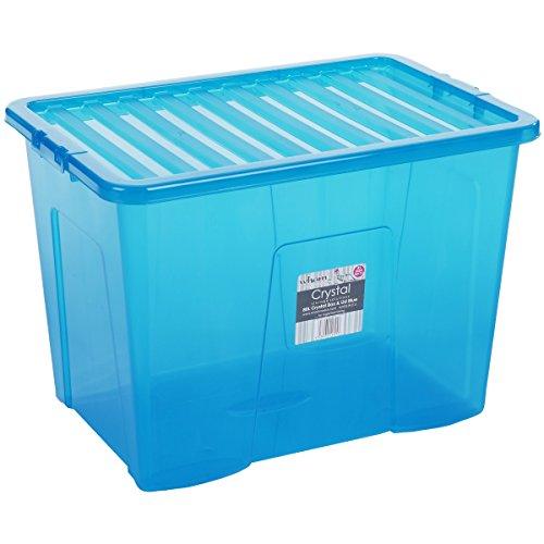 Hochwertige XXL Box mit Deckel, 80l, 60x40cm ✓ Lebensmittelecht ✓ Sicherer Clip-Verschluss ✓ Stapelbar ✓ Schadstofffrei | Blau-transparent | Transport-Kiste, Lagerbox, Aufbewahrungs-Kiste, Aufbewahrungsbox, Stapelbox, Transportbox, Plastik-Box, Kunststoff-Box