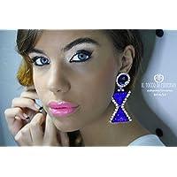 Blaue Ohrringe mit Steinen und Strass Pretty Woman Handgefertigt Made in Italy- handgefertigt - handgemacht - Mädchen Geschenk Mädchen - Geschenke für sie - Weihnachten