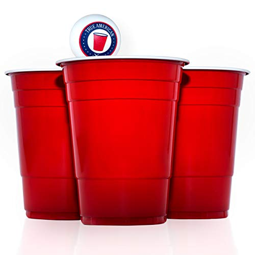 True American Beer Pong Becher Set - 50 Original Red Cups + 3 Bälle + Spieleanleitung - Extra Starke & Wiederverwendbare Rote Becher (16oz/473ml) (Party Cups Red)