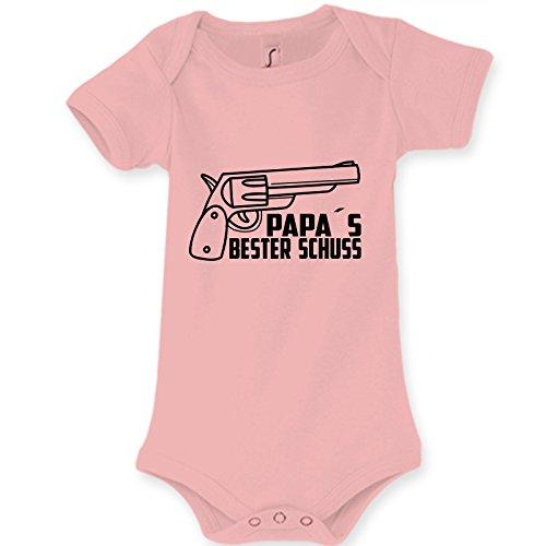 Baby Body Strampler PAPAS BESTER SCHUSS Geschenk idee Geburt (Pink, 3-6 Monat 68cm)