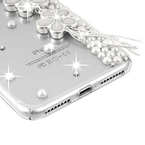 Mavis's Diary Luxuriöses Strass Case für iPhone 7 Plus(5,5 Zoll)PC Hardcase Tasche Handmade 3D Muster Rosa Bogen mit Bling-bling Strass Hüllen Schutzhülle Scratch Dekorative Telefon-Kasten Handyhülle  Weiß Diamant Blumen