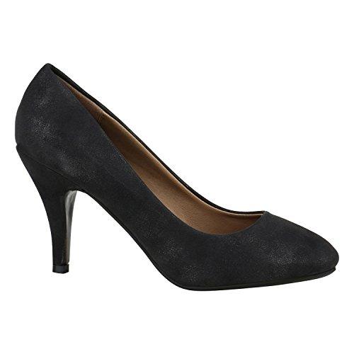 Klassische Damen Pumps High Heels Leder-Optik Schuhe Bequem 151942 Schwarz Autol 37 Flandell -