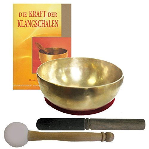 Therapie KLANGSCHALE ca. 600-700g Handarbeit Nepal 5-tlg Klangmassage SET. KLEINE HERZSCHALE + Buch + 2 x Klöppel + ZUBEHÖR. 70203