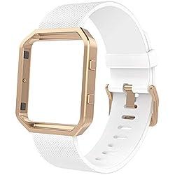 Anjoo Bracelet Compatible pour Fit bit Blaze, Blanc Silicone et Magnetic Loop en Acier Inoxydable Bande Bracelet de Remplacement avec Cadre Or Rose Compatible pour Fit bit Blaze,Petit