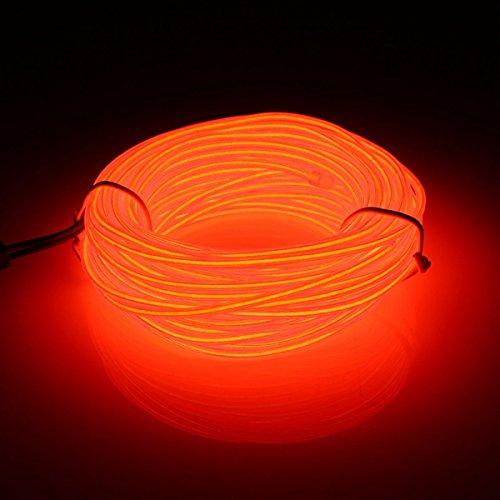 Flexible Seil-beleuchtung (MASUNN 10M El Führte Flexiblen Weichen Schlauch-Draht-Neonglühen-Auto-Seil-Streifen-Licht-Weihnachtsdekor Dc 12V-Rot)