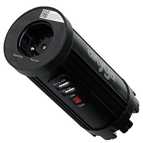 Akyga AK-CI-01 Auto Wechselrichter 12V-230V, 150W mit Stecker CEE 7/5 und 2X USB schwarz