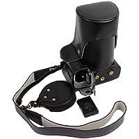 Protección completa inferior abertura de la caja Versión PU de protección de la cámara del bolso de cuero con el trípode Diseño compatible para Nikon D750 con un 24 - 70 mm de la lente con la correa de hombro correa para el cuello y la tarjeta de almacenamiento Caso Negro