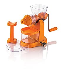 Marvel Jumbo Fruit & Vegetable Premium Manual Hand Juicer Mixer Grinder with Steel Handle & Waste Collector (Orange)