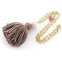 Sautoir long collier fantaisie pour femme avec pompon, tassel en laine, perle de couleur rose clair et chaîne en aluminium. Couleur marron clair et macramé rose. Cadeaux st valentin pour femme
