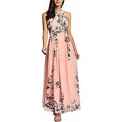 Ruiyige Vestido Largo sin Mangas con Estampado Floral y Estampado Floral Vintage Rosa S
