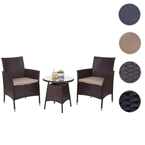 Mendler Poly-Rattan-Garnitur HWC-A82, Balkon-Set Gartenmöbel Sitzgarnitur ~ Braun, Kissen Creme