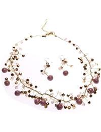 Oi! - N2869/E2869 - Parure Boucles d'Oreille et Collier Femme - Quartz Rose/Cristal/Agate
