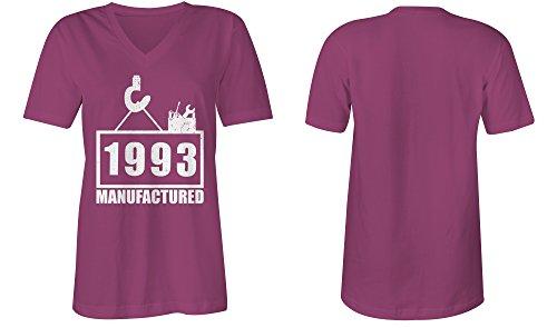 Manufactured 1993 - V-Neck T-Shirt Frauen-Damen - hochwertig bedruckt mit lustigem Spruch - Die perfekte Geschenk-Idee (07) pink
