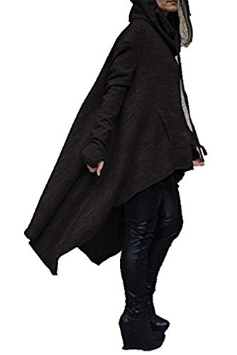 Damen Lange Kapuzenpullover Oversize Pullover Asymmetrisch Hoodie Kleid Casual Pullis Schwarz