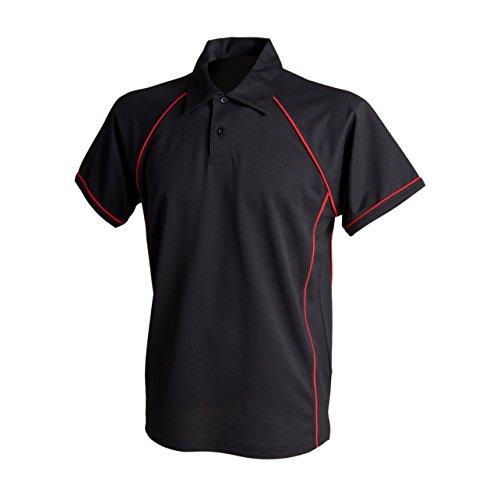 Finden & Hales Herren Sport Polo-Shirt Schwarz - Black/Red