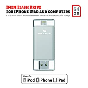 [Apple MFi Certified]ZeroLemon iMemStick USB Flash Drive with Lightning to USB Storage 64GB Compatible with iPhone/iPad/iPod/PCs/Mac Computers - [1 Year Warranty] - Silver