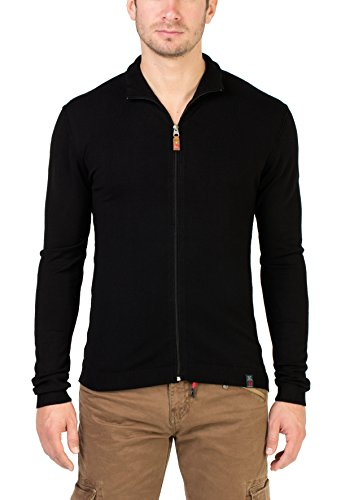 Timezone Herren Strickjacke Basic Light Knit Jacket, Schwarz (Caviar Black 9151), Small (Zip Jacket Knit)