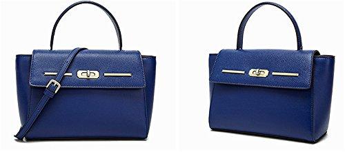 Xinmaoyuan Borse donna estate vera pelle donna borse tracolla messenger bag,vino rosso Blue