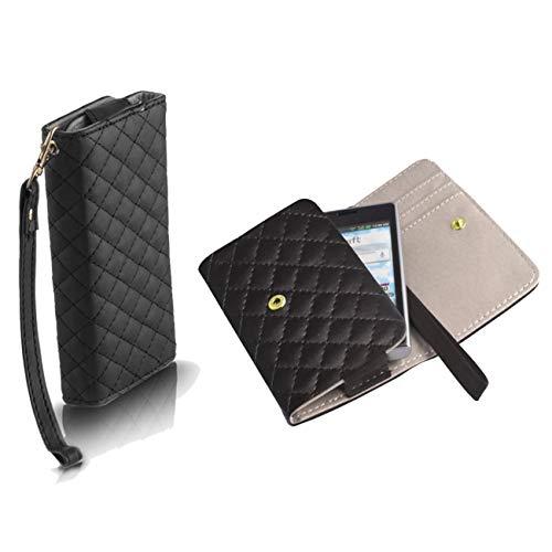 Handyschale24 Wallet Case für Lenovo A5000 Handytasche Schwarz Schutzhülle Tasche Slim Cover Etui Portemonnaie Bookcase Etui