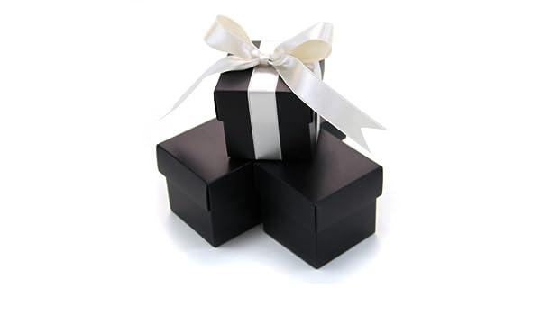 Black 403883 Koyal 2-Piece 100-Pack Square Favor Boxes