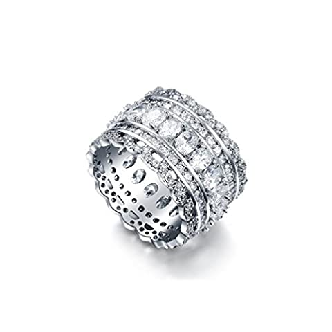 RedFly 18ct White Gold Plated Pave Tiny CZ Crystal Wide Luxury Women Statement Rings, Size S