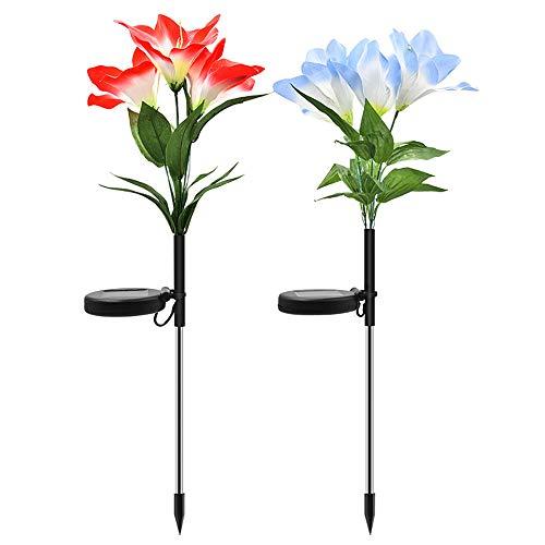 rbwechsel Led Lightern Orchidee Blume Licht Solar Lampe für Balkon Dekoration Solarbetriebene Dekorative Außenhalle,Veranda,Hof, Schule, Lampe, Garten Licht (2 Stücke 1 Satz) ()
