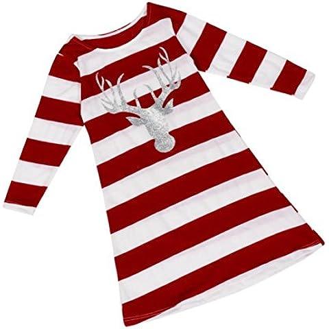Coversolate Mujer Niña Niños Raya Navidad Vestir Cuello redondo Alce Manga larga