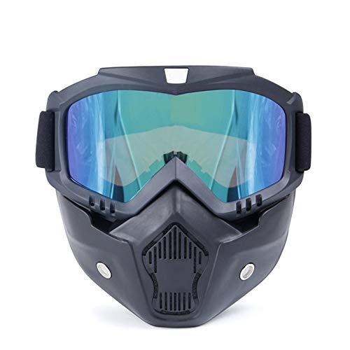 Lafeil Sportbrille Damen Damen Herren Im Freien Lokomotivmaske Schutzbrillen Motorrad Retro Helm Reiten Off Road Schutzbrillen Grün (Polaroid Ban Ray)