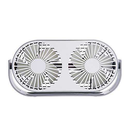 4,6-Zoll-Mini-USB-Tischventilator, 3 Geschwindigkeiten, Doppellüfter, zwei Betriebsarten, Bullt-in-Aromatherapie-Tische, integrierter 2000-mAh-Akku, perfekter Ventilator für Büro und Haushalt,Gray -