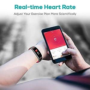 CHEREEKI Pulsera Actividad, Fitness Tracker IP68 Impermeable Monitor de Frecuencia Cardiaca 14 Modos de Ejercicio/Control de Música/Cronómetro/Recordatorio Sedentario/SMS Push (Rojo)