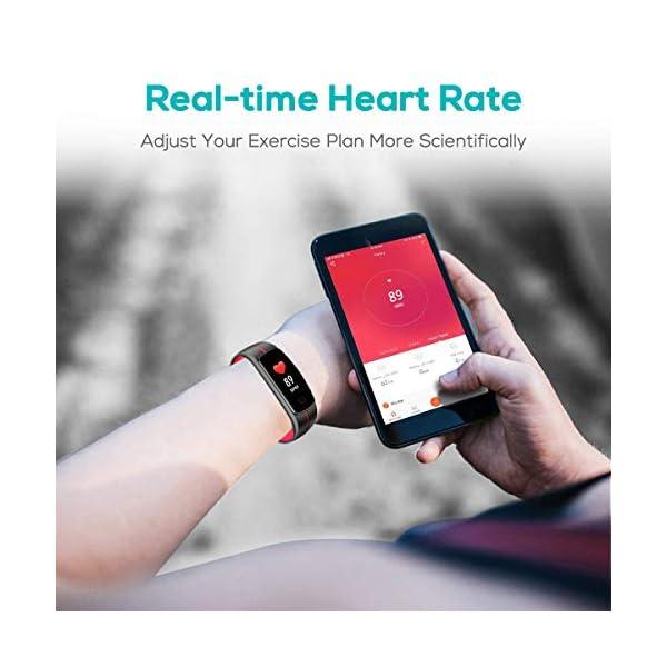 CHEREEKI Pulsera Actividad, Fitness Tracker IP68 Impermeable Monitor de Frecuencia Cardiaca 14 Modos de Ejercicio/Control de Música/Cronómetro/Recordatorio Sedentario/SMS Push 3