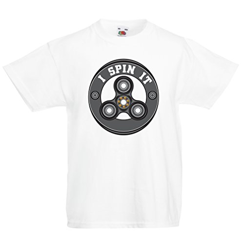 Kinder T-Shirt I Spin It - für Fidget Hand Spinner Toy Fans (12-13 years Weiß Mehrfarben) (American All Erwachsenen T-shirt)