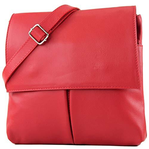 modamoda de - T63 - ital Umhänge-/Schultertasche Nappaleder, Farbe:Rot - Leuchtend Rotes Leder