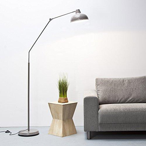 Moderna Lámpara de pie en el diseño retro, altura 190cm, metal/cromo, gris, E27 42.00 W 230.00 voltsV