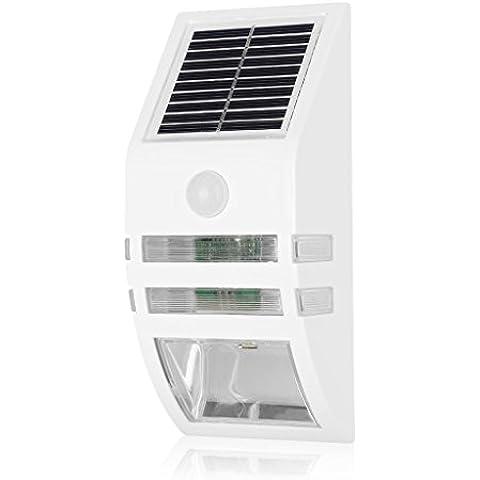 Excelvan - Foco Solar LED Exterior Farola Pared Seguridad (Sensor Movimiento, 1200mAh, Para Patio, Jardín, Escalera, Porche, Entrada de Coches) Blanco