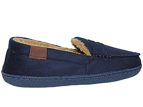 Pantofole Da Uomo Nuove Con Fodera In Hampshire, Misure: 41 - 47 Blu Navy / Marrone Chiaro