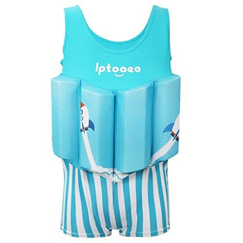 Gogokids Jungen Einteiler Bademode Bojen-Badeanzug - Badebekleidung für Kinder mit Schwimmbojen Ärmellos Float Suit Badeanzug mit Schwimmhilfe
